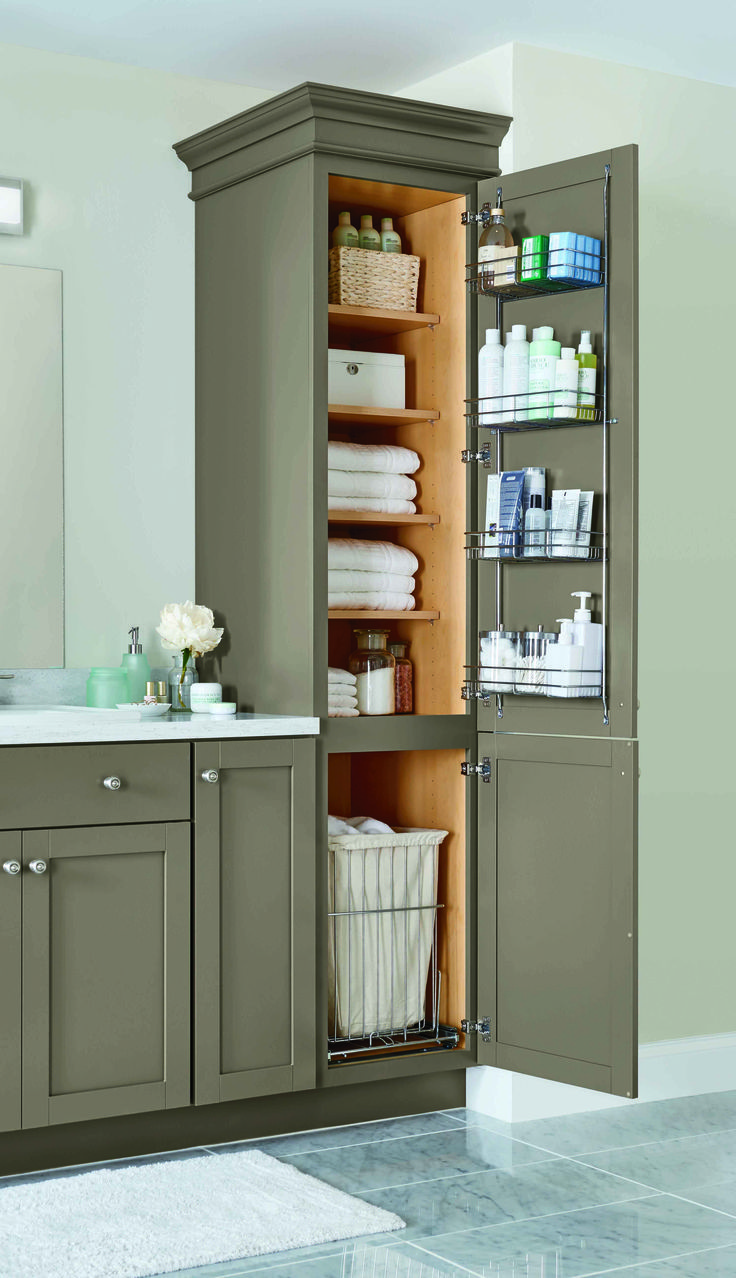 Awesome A Linen Closet With Four Adjustable Shelves A Chrome Door - Bathroom vanity hutch cabinets for bathroom decor ideas