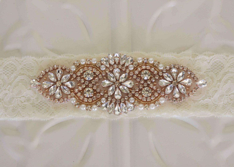 Rose Gold Rhinestone Crystal and Pearl  Wedding Garter, Bridal elastic lace garters by MyVintageWeddingAust on Etsy