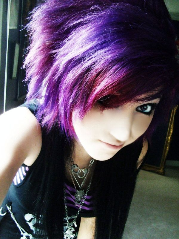 Roxo E Preto New Color Pinterest Emo Short Hair And Hair Coloring