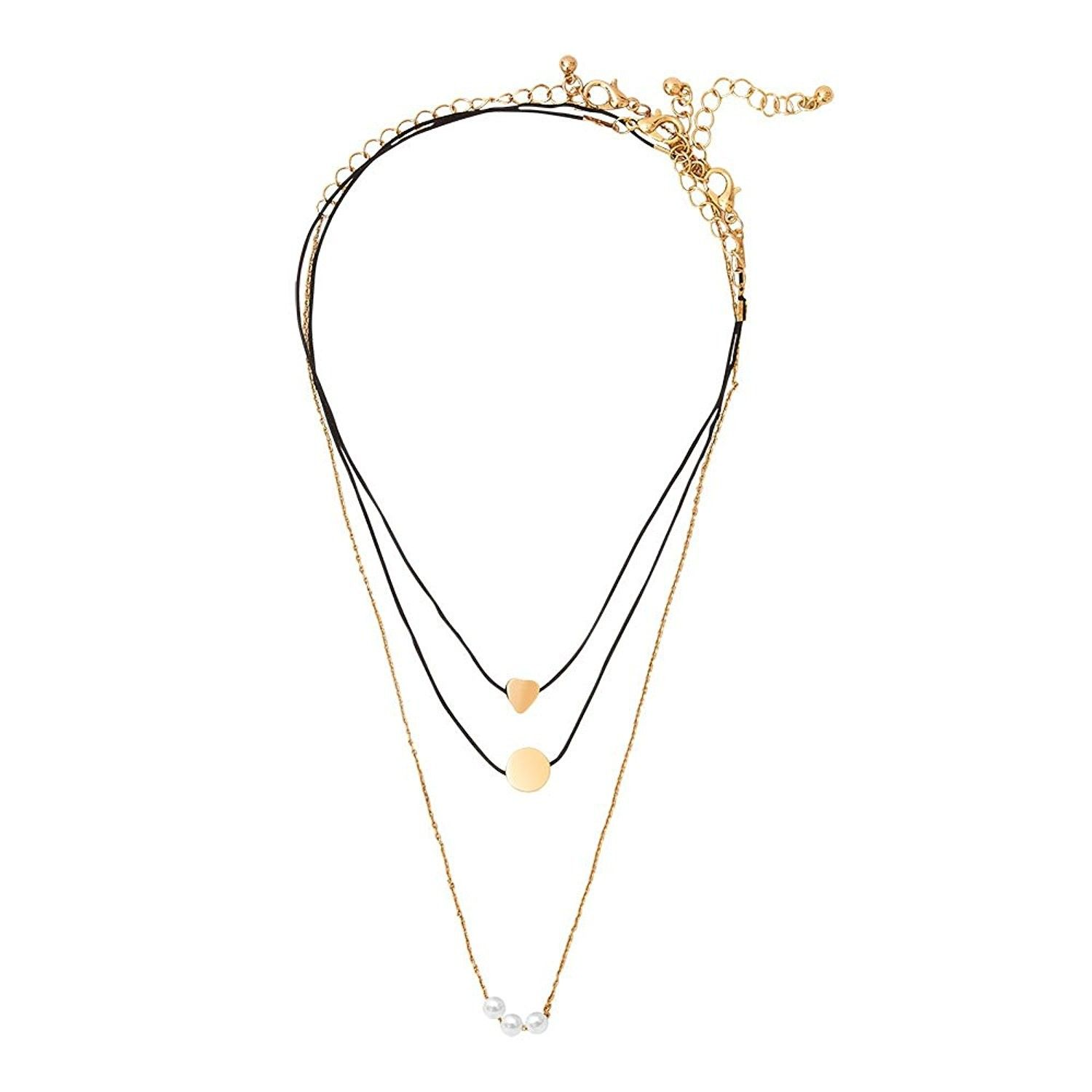 Choker necklace set pearl pendant necklaces for women goldplated