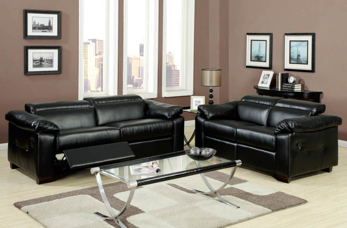 black leather living room furniture sets%0A Darcel collection modern styling black bonded leather sofa and love seat set  with recliners and adjustable headrests  This set features a black bonded