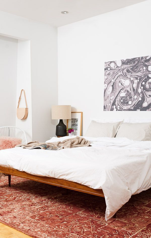 A minimal meets modern eclectic bedroom with
