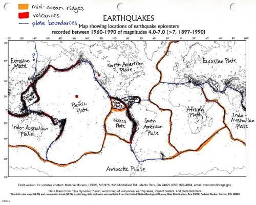 Color coded and labelled world earthquake map Good Activity