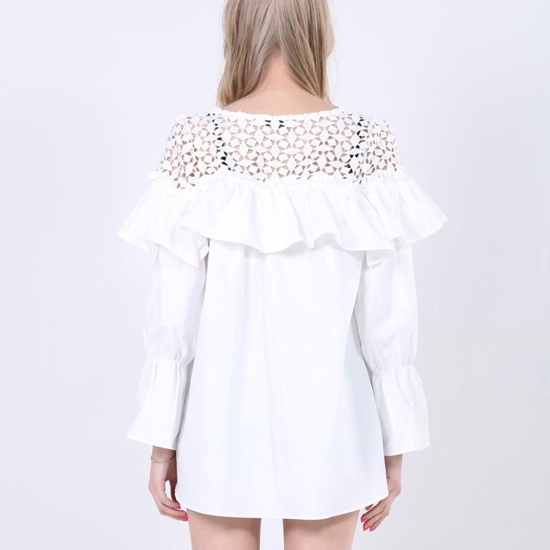 b6ce8bcc4112d Ruffle Hollow Out Parchwork T-shirts Women O-neck Full Flare Sleeve  Stripped blouse