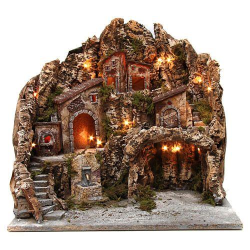 Borgo presepe illuminato con forno fontana e grotta 50X55X60 cm