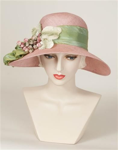 242bb9c9 Ladies Tea Party Hats- Make or Buy Victorian Hats Louise Green Pink Pouf Hat  $299.95 AT vintagedancer.com