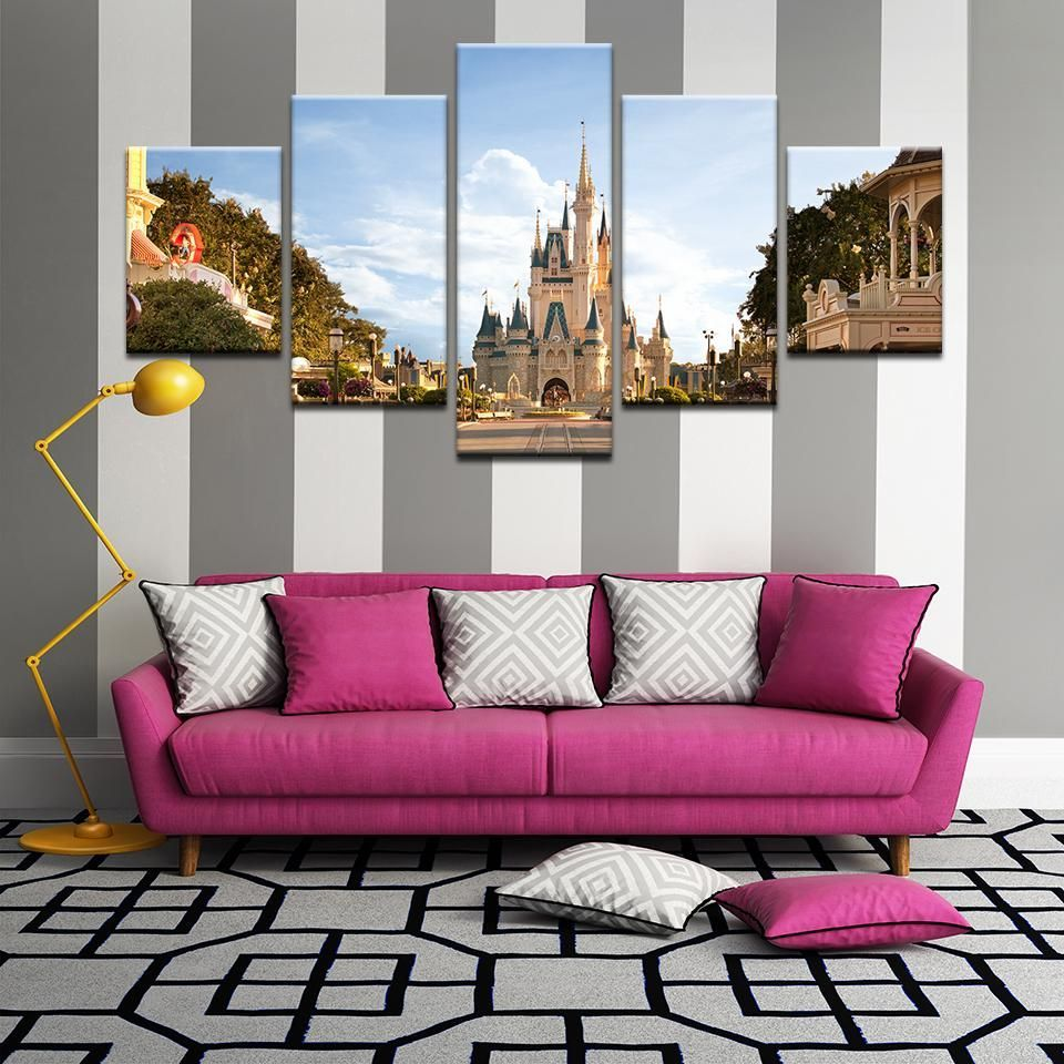 Cinderella Castle At Dawn Disney World Magic Kingdom 5 Panel Canvas Print Wall Art You Are In The Right Place Ab In 2020 Wall Prints Canvas Print Wall Wall Art Prints