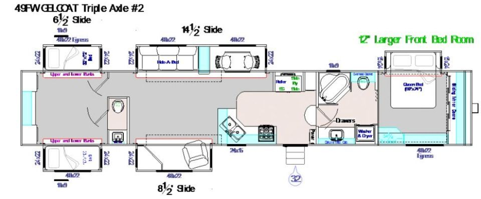 49 Foot Fifth Wheel 5 Slide Outs Corner Kitchen With Table And
