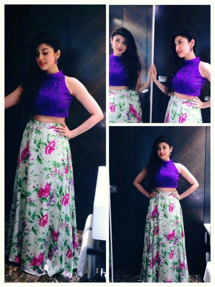 Actress Pranitha Floral Printed Loose Hairstyle Purple Top