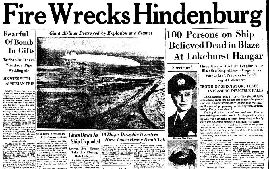 A newspaper article about the Hindenburg disaster ...