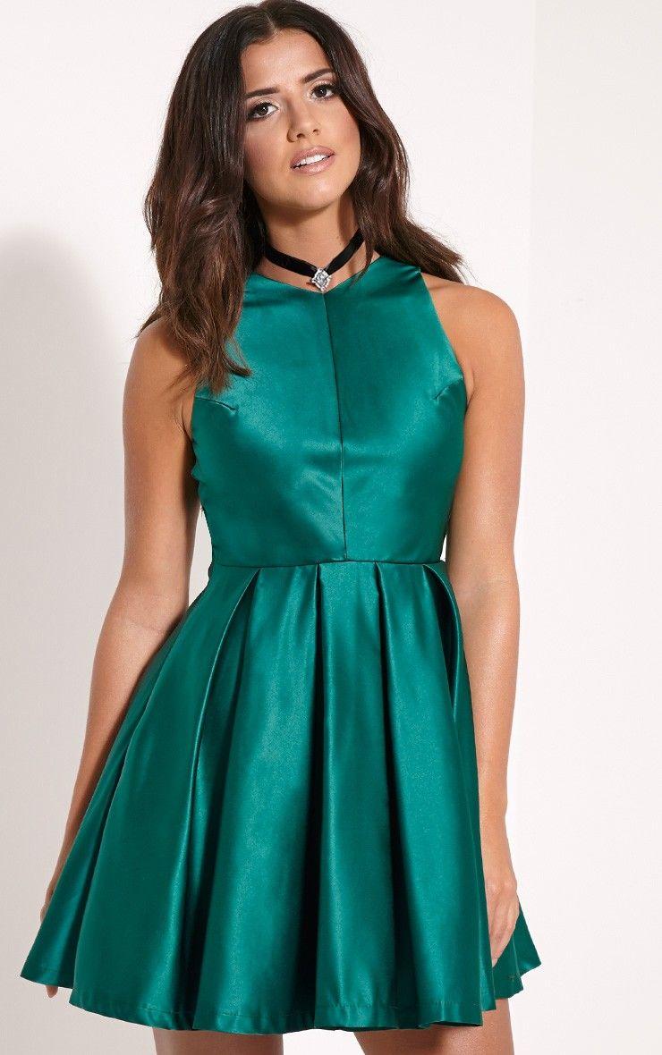 Deborah Bottle Green Backless Skater Dress Image 3 | DAMAS DE HONOR ...