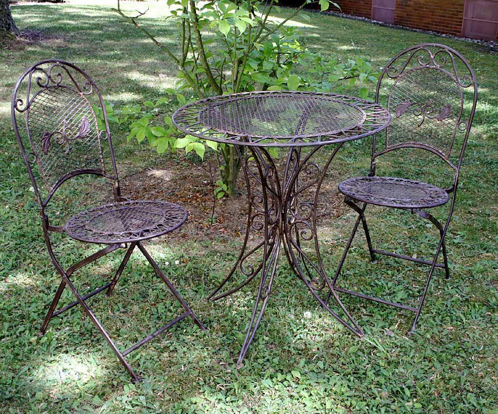 Gartentisch 2x Stuhl Eisen Antique Style Gartenmobel Garden Furniture Braun Gartentisch Gartenmobel Stuhle