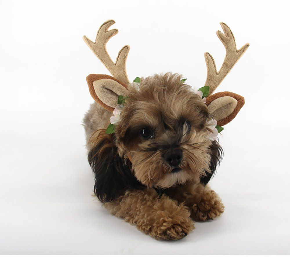 Kathson Dog Headband Costume With Flowers Holiday Christmas Reindeer Antlers Ears Wearable For Small Medium Large Dog Christmas Dog Hat Dog Hat Dog Accessories