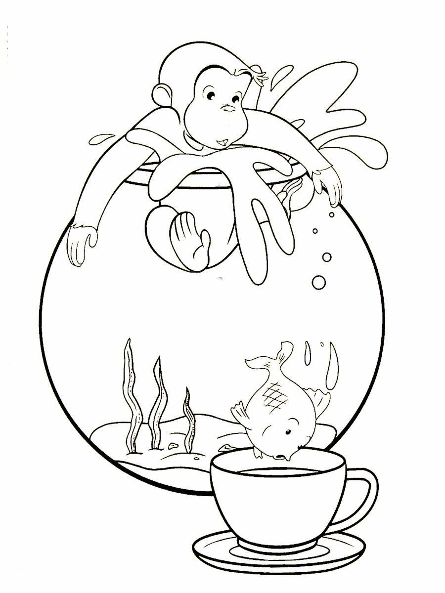 Coloring book curious george - Curious George Printable Coloring Book Page For Kids