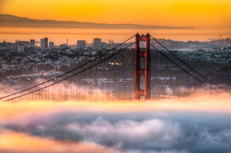 San Francisco, Golden Gate in fire chamber by alierturk on @DeviantArt