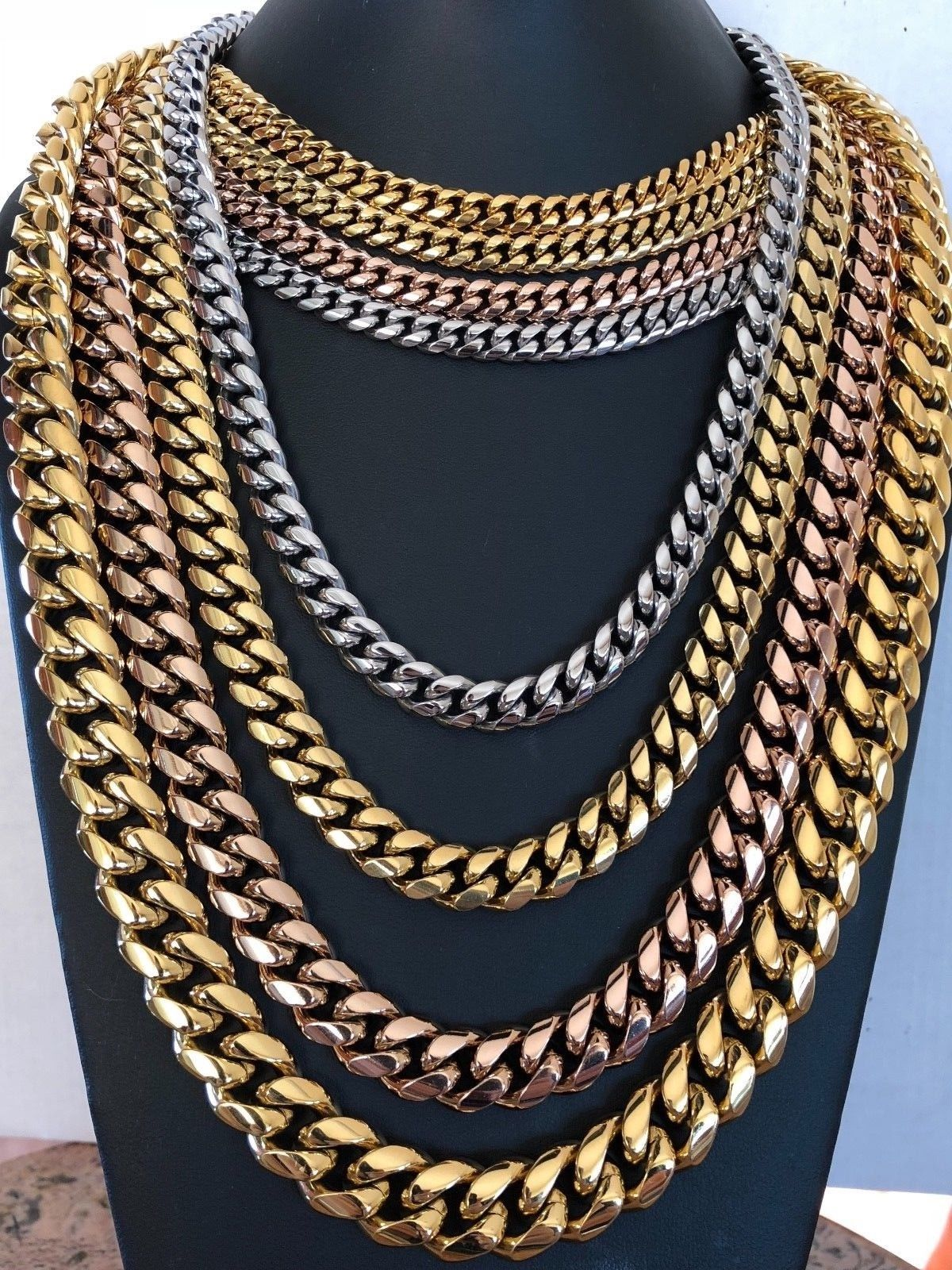 738c96dbd9391 Men's Miami Cuban Link Chain 14k 18k Gold Plated Stainless Steel ...