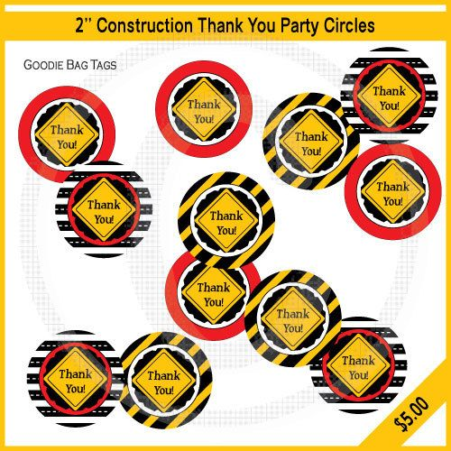 Dump Truck Party Thank You Tags / Printable / Birthday Invitations / Baby Shower. $5.00, via Etsy.