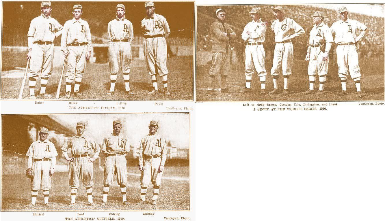 1910 A's OF: Topsy Hartsel, Bris Lord, Rube Oldring, Danny Murphy.