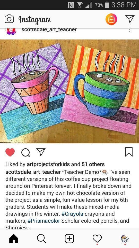 Coffee mug artwork strong lines bold colors that recall warmth Winter art classes Coffee mug artwork strong lines bold colors that recall warmth Winter art classes