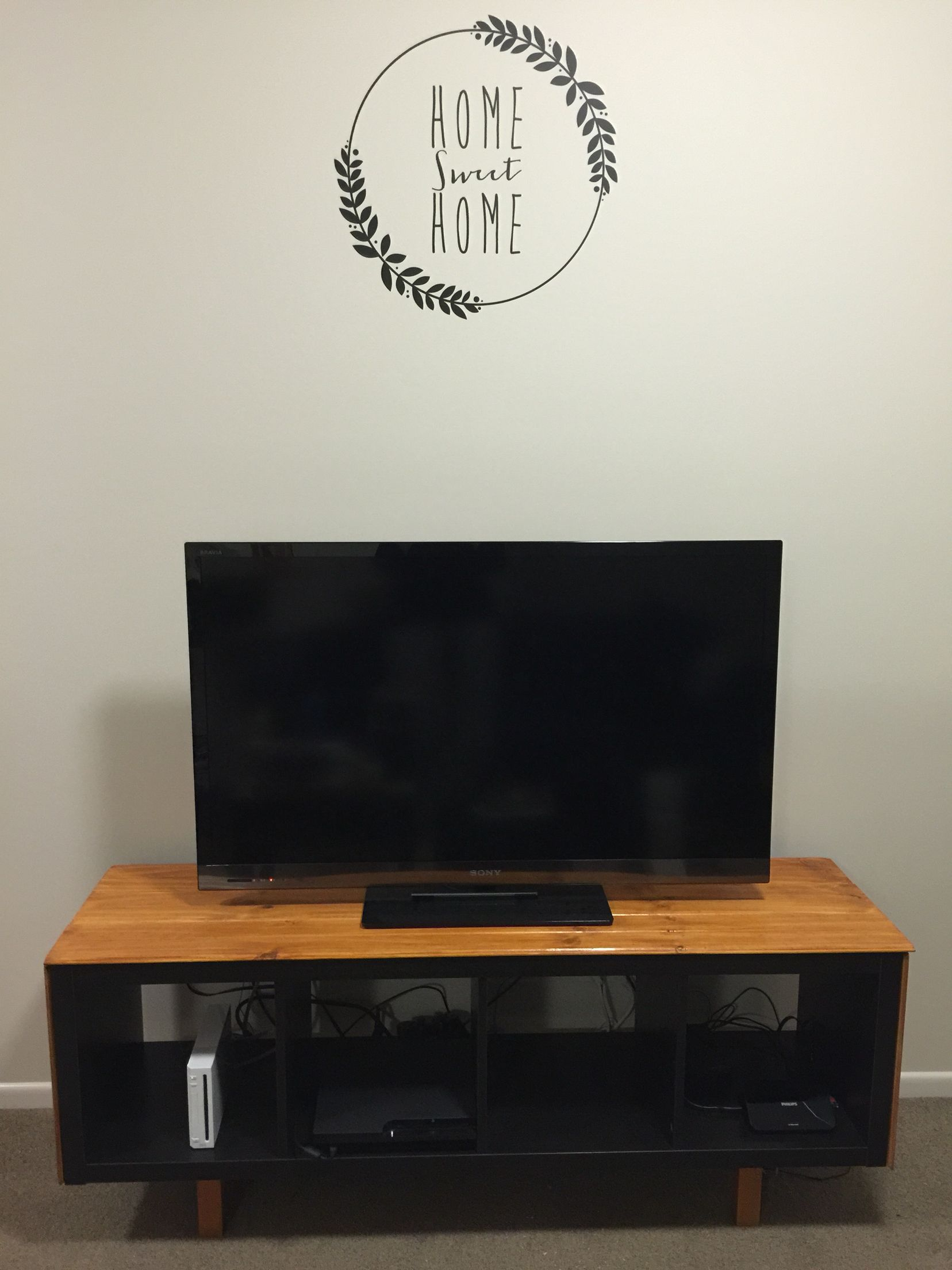 Our Ikea Hack Tv Cabinet Kallax Shelf Turned On Its Side With
