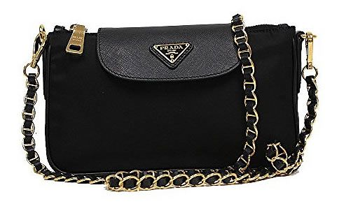 Prada Tessuto Saffiano Nylon Leather Black Chain Handle Crossbody Shoulder  Bag BT0779 1BH779 04e6e8c864fd7