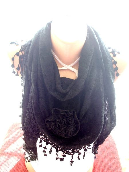 Black+Knitted+Fabric+Scarf,+Shawl+Scarf+from+bigsweetheart+by+DaWanda.com