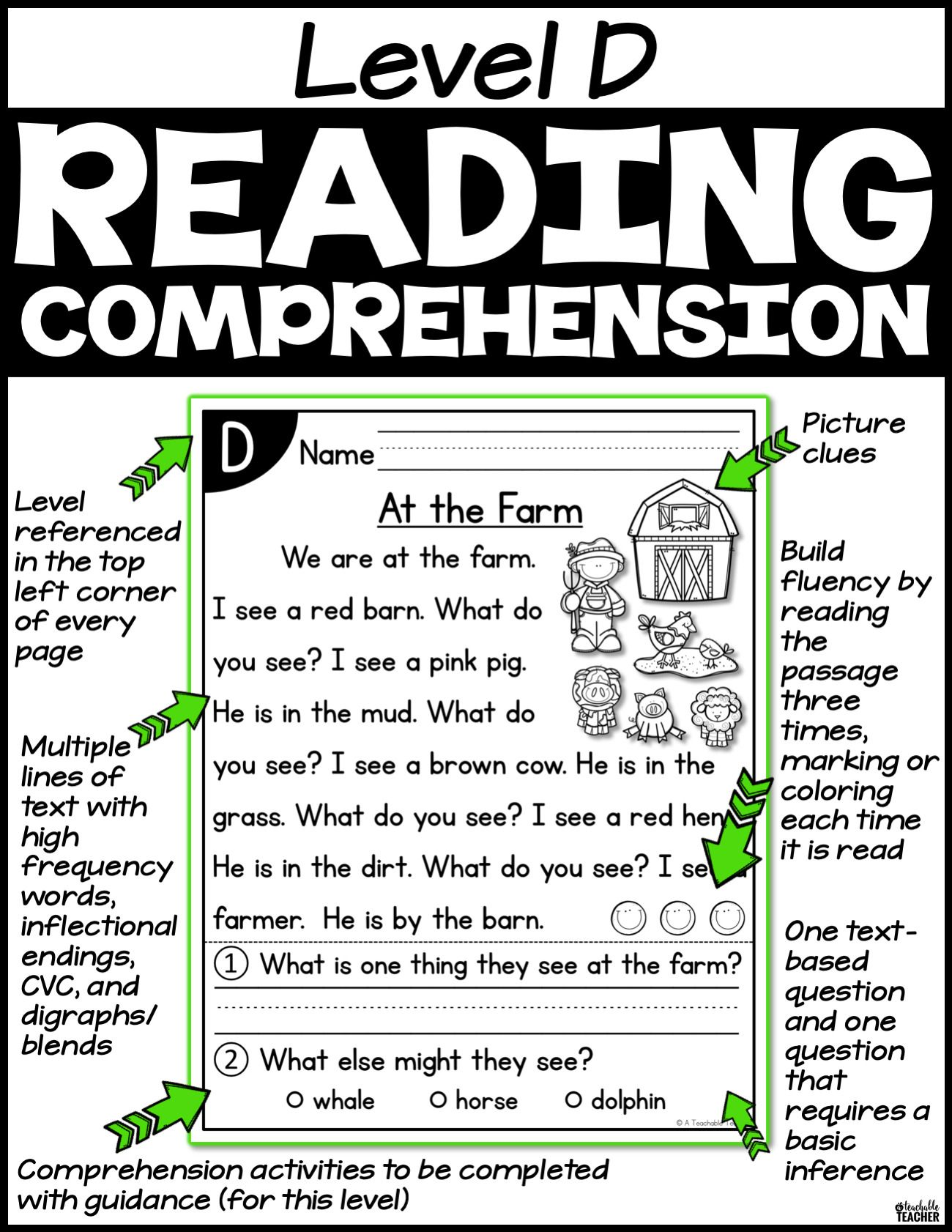 Level D Reading Comprehension Passages And Questions With