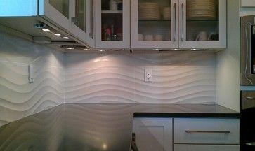 Wave Tile Backsplash Kitchen Panel Contemporary Wall
