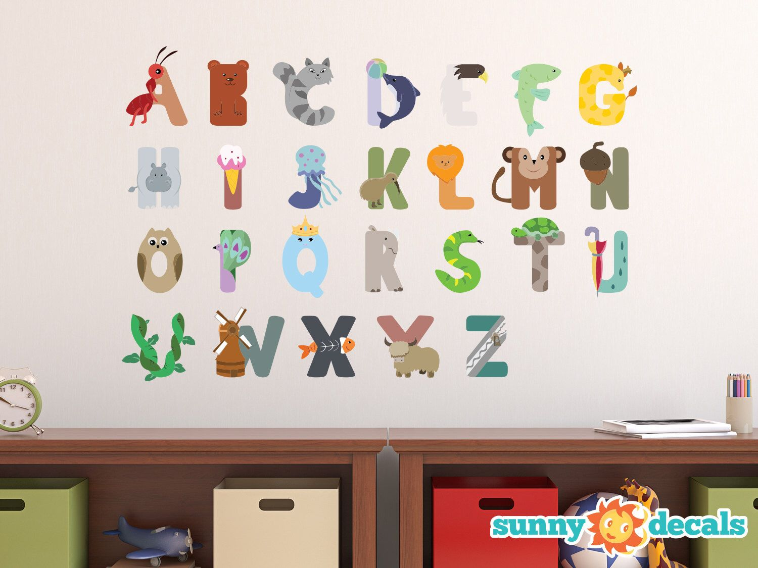Animal Alphabet Fabric Wall Decals, Repositionable and Reusable, ABC Decals with Animals and Fun Characters by Sunny Decals by SunnyDecals on Etsy https://www.etsy.com/listing/190072162/animal-alphabet-fabric-wall-decals