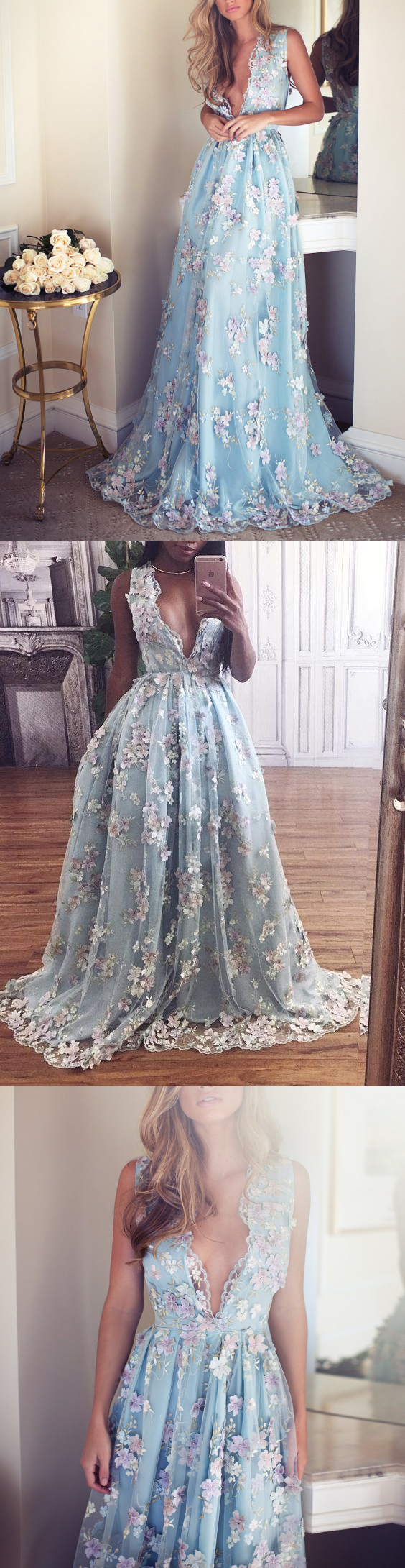 Sexy beautiful prom dresses vneck short train handmade flower long