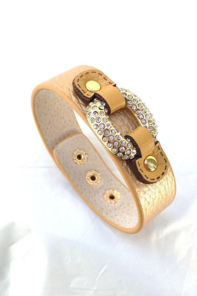 Wardani adjustable metallic leather equestrian bracelet for women