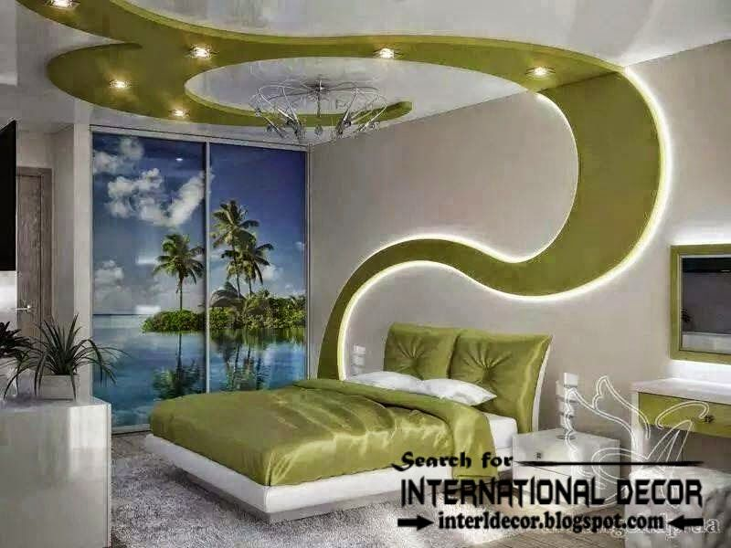 Modern bedroom ceiling ideas and drywall with LED lights, led wall ...