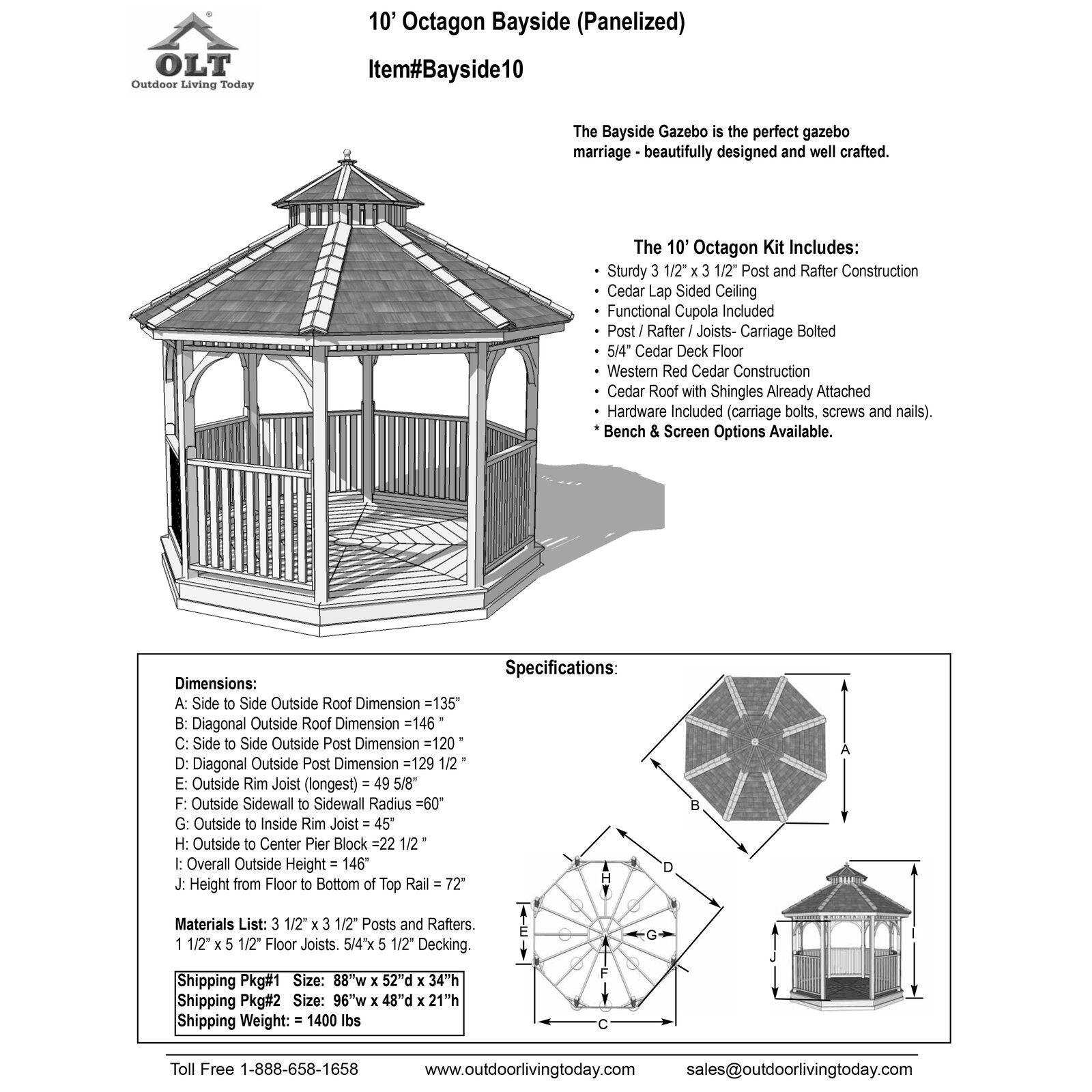 Gazebo 2 5 X 3.Bayside 10 Ft W X 10 Ft D Cedar Patio Gazebo Gazebo Arsitektur