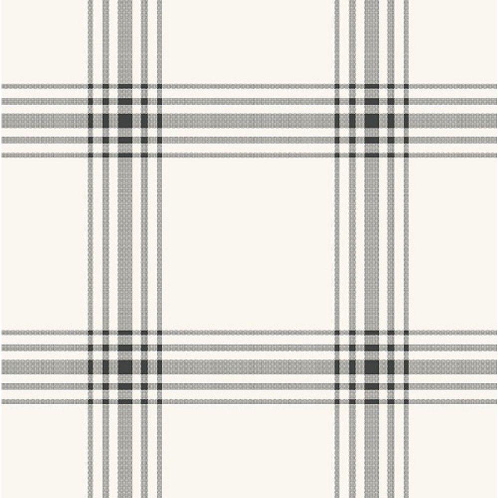 Sample Square Wallpaper Black/Cream (Ivory) Plaid Hearth