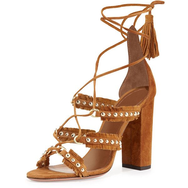 69d780e889ada Aquazzura Tulum Fringed Suede Sandal ( 955) ❤ liked on Polyvore featuring  shoes