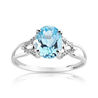 d580d4d384e Bague or 750 blanc topaze bleue traitée Bague Diamant
