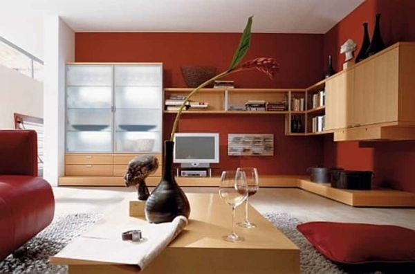 wohnzimmer schön gestalten rote wände - Wohnzimmer streichen – 106 ...