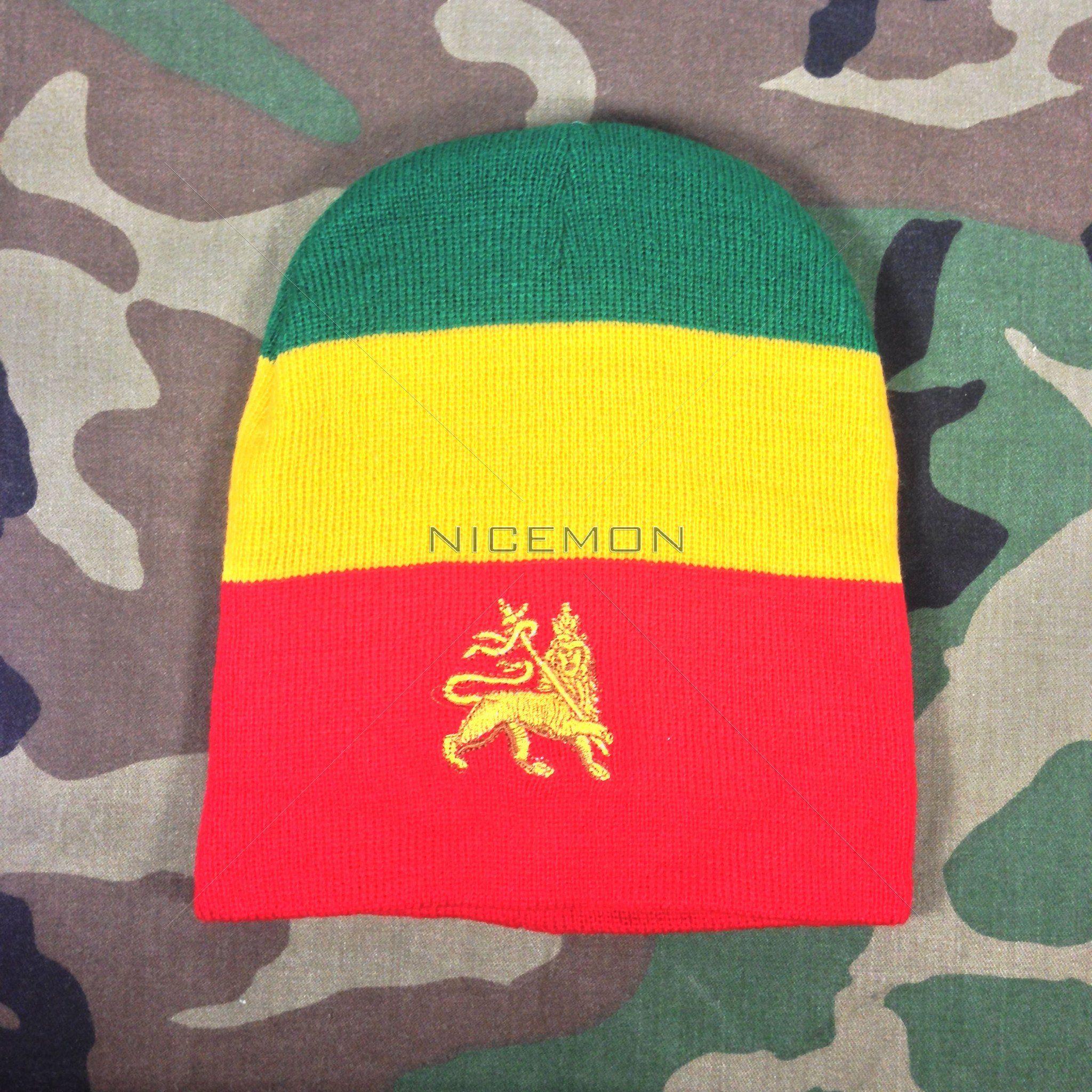 8d2d19ca76733 Rasta Embroidery Tam Beanie Cap Hat Rastafari Selassie Beanie One Size Fit