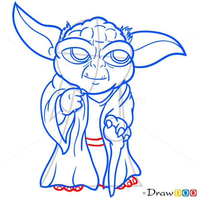 How To Draw Yoda Chibi Star Wars Star Wars Peinture