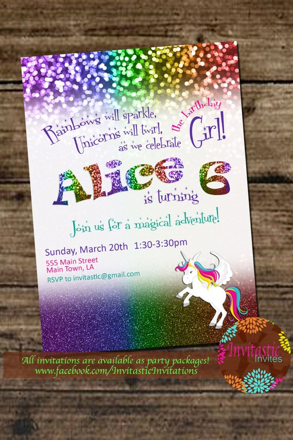Rainbow Unicorn Glitter Birthday Party Invitation Rainbow And