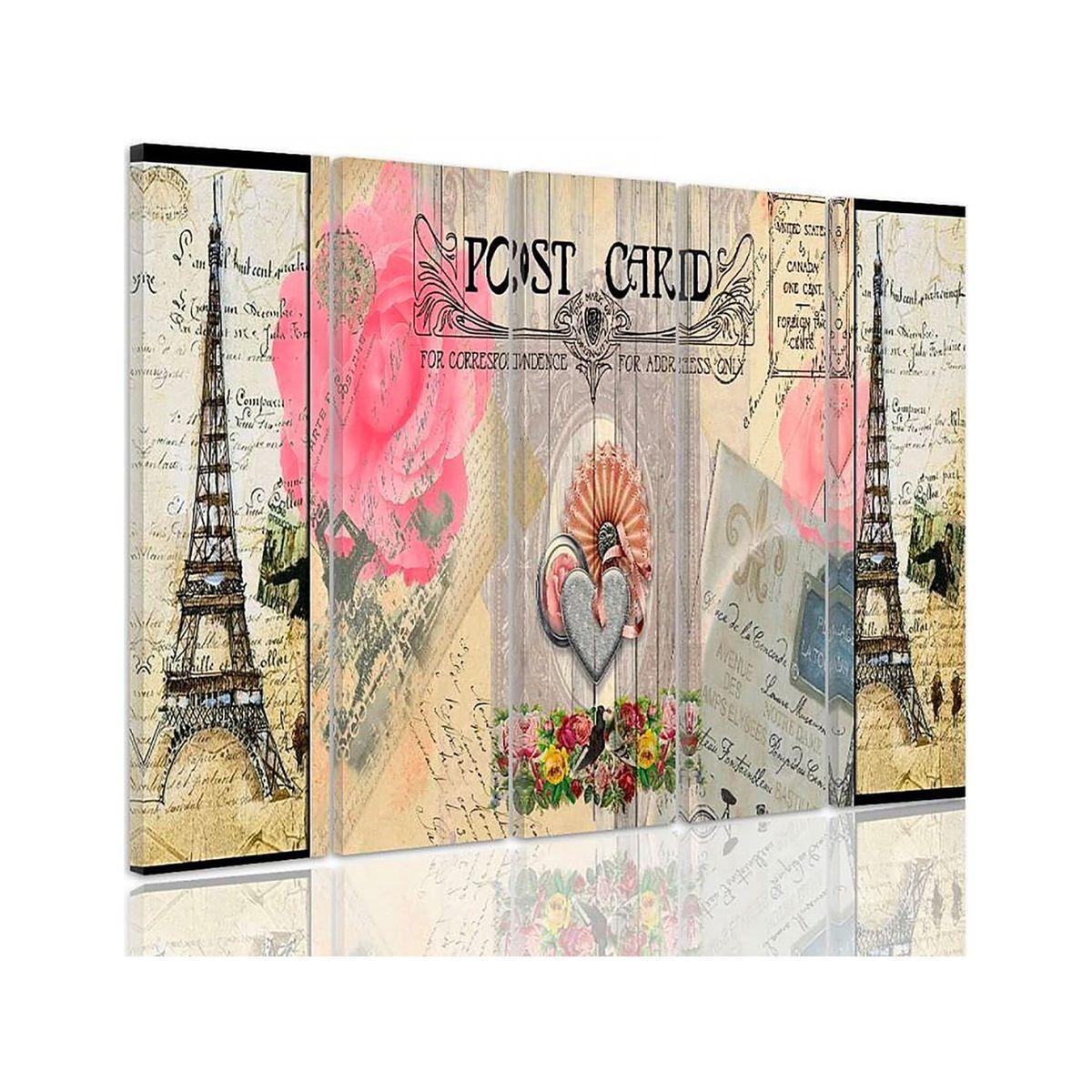 Composition De 5 Tableaux Le Carte Postale De Paris Imprime Sur