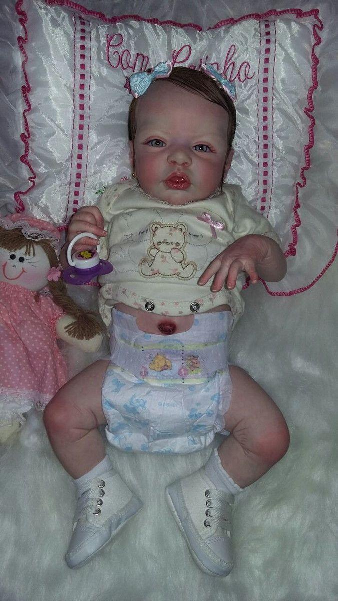 e314e800f Bebê Reborn Esme Corpo inteiro em Vinil siliconado Boneca Linda Detalhes  Reais Barata Com peso