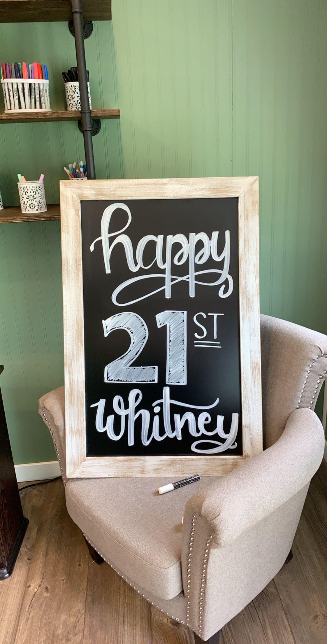 Chalkboard Happy Birthday 21st Birthday Happy 21st Birthday Happy 30th Birthday Birthday Chalkboard Sign
