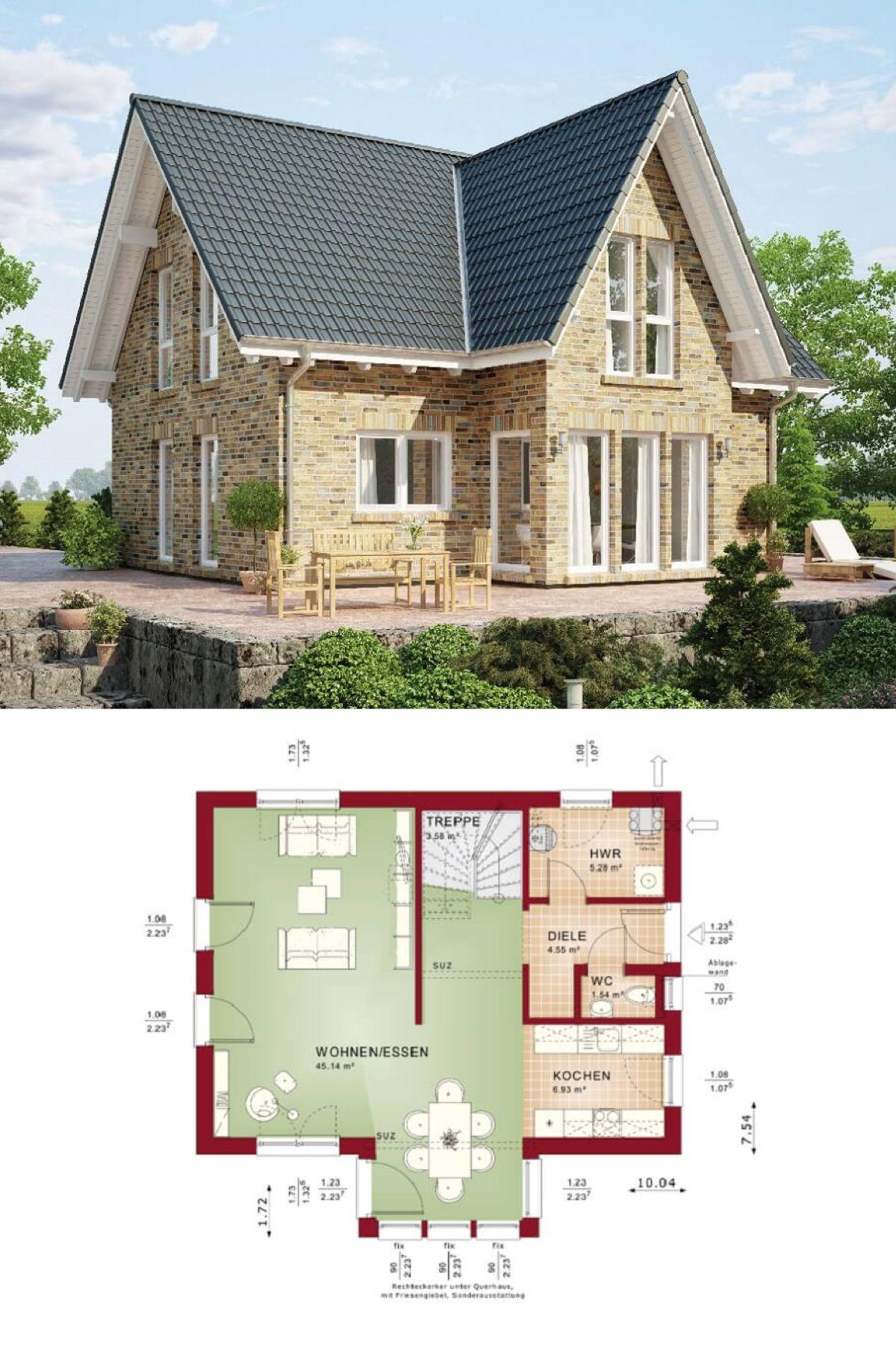 haus evolution 122 v8 grundriss erdgeschoss wohnhaus bien zenker klinker fassade erker. Black Bedroom Furniture Sets. Home Design Ideas