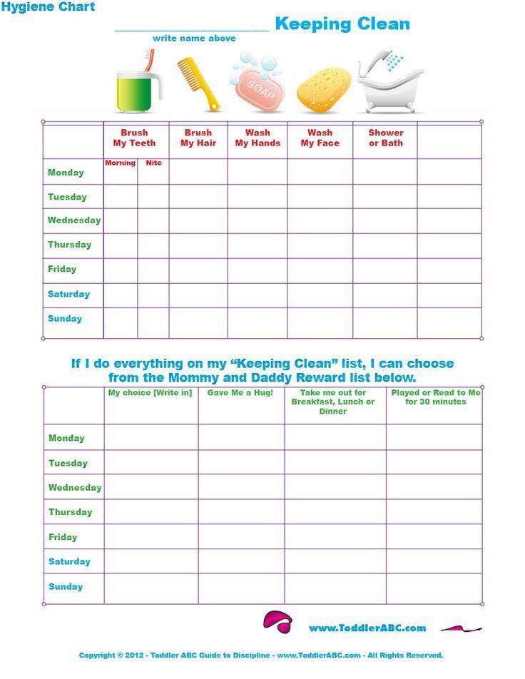 Printable Worksheets personal hygiene worksheets kids : Toddler Hygiene Chart | Personal Hygiene Worksheets | Pinterest ...