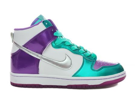 Women High Rainbow Nike Dunk GS Metallic Purple Violet