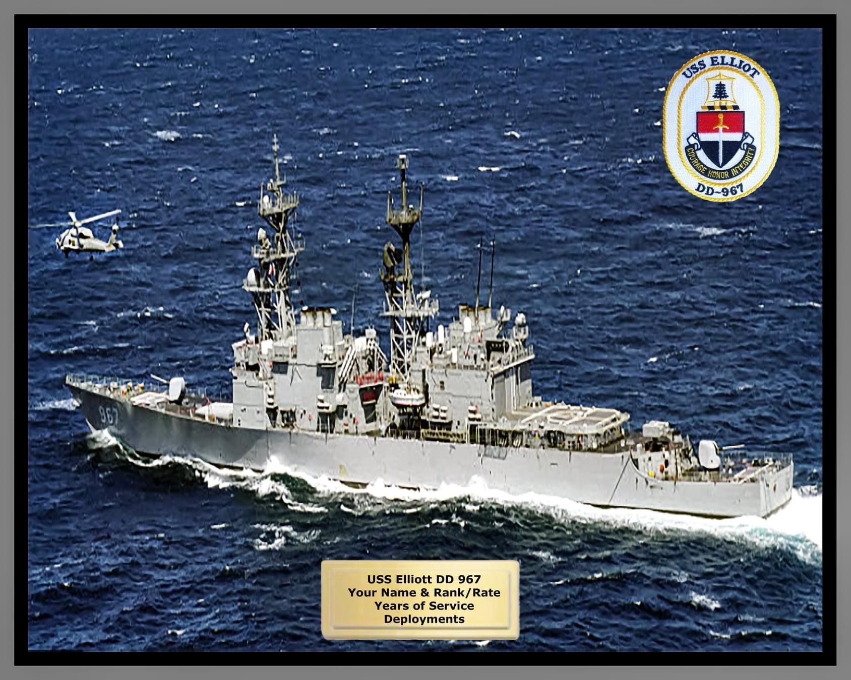 USS ELLIOT DD 967 USN Navy Ship Print ca.1991  US Naval Destroyer