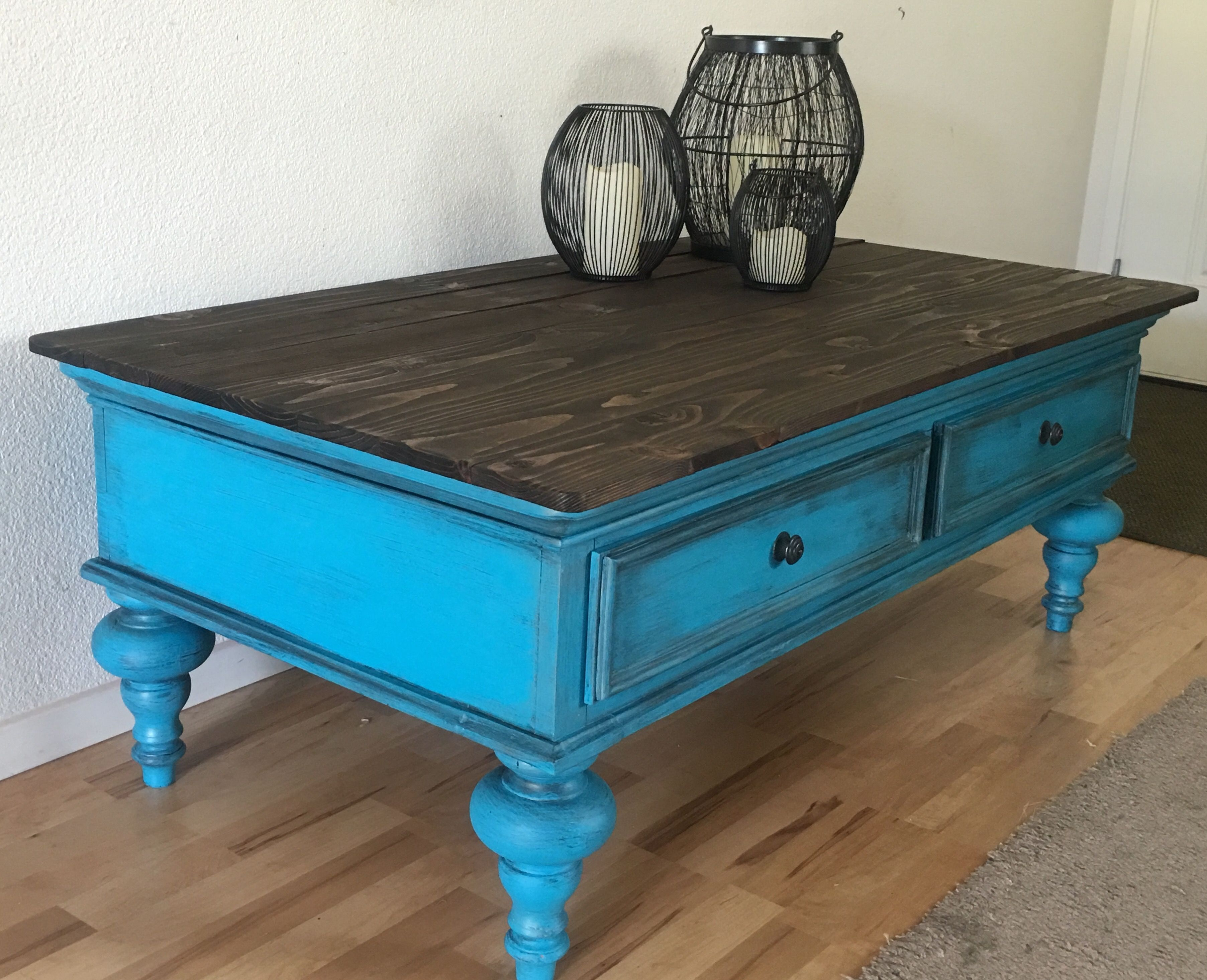 Complete Redo Of This Coffee Table Hawaiian Turquoise Antiqued