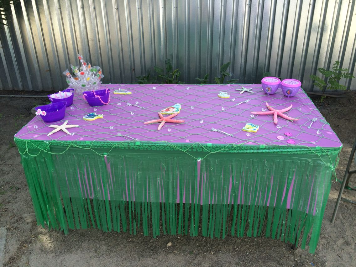 Table decorations little mermaid mermaid party ideas for Ariel birthday party decoration ideas