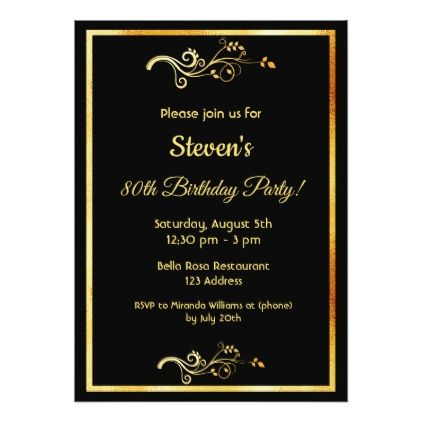 80th Birthday Party On Black With Faux Gold Decor Card